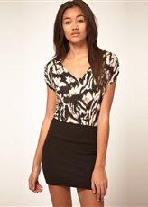 Стильное платье туника с леопардовым верхом